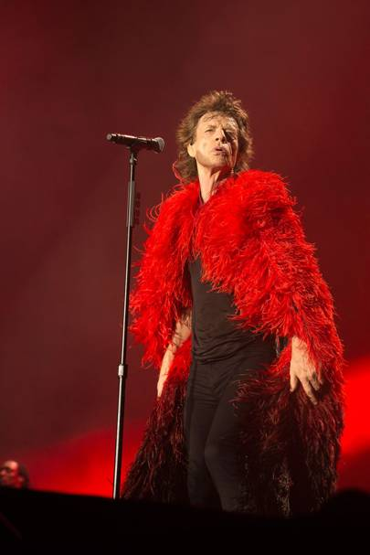The red ombré ostrich-feather cape with black-lace lining, designed by L'Wren Scott and worn by Mick Jagger when performing 'Sympathy For The Devil' on tour in 2012
