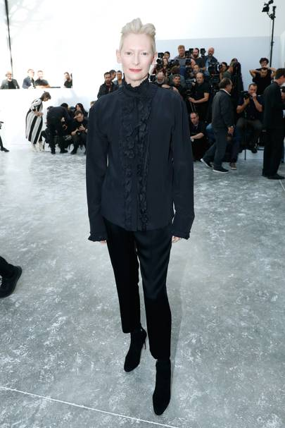 Tilda Swinton at the Haider Ackermann show.
