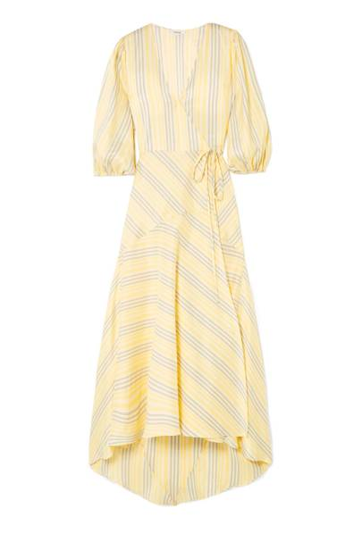 Ganni silk striped dress