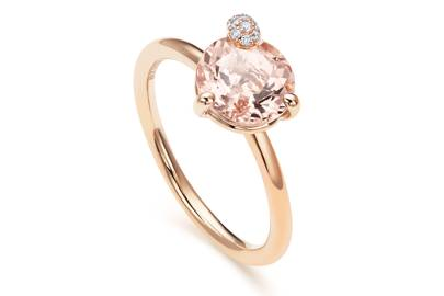 Bucherer 18-carat-rose-gold, diamond and morganite Peekaboo ring