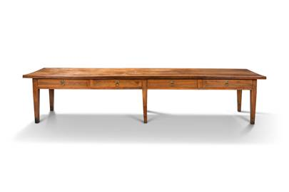 AN ITALIAN CHERRYWOOD LARGE TABLE, 19TH CENTURY, £2000-4000 (the models are alabaster)