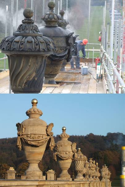 Before and after: the finials being cleaned