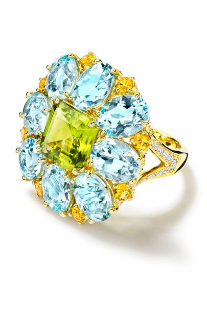 Gold, diamomd, blue-topaz, peridot & citrine ring, £9,200, by Cassandra Goad