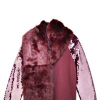 Shearling scarf, £175, by DKNY. Cotton & sequin sweater, £195, by DKNY