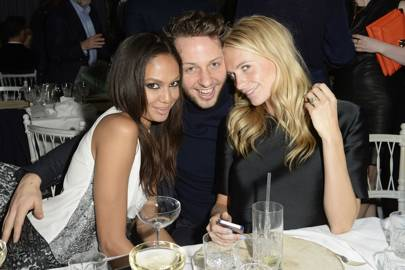Joan Smalls, Derek Blasberg and Poppy Delevingne