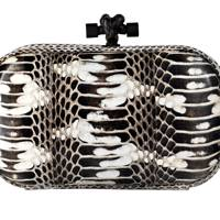 Snakeskin clutch, £1,610, by Bottega Veneta