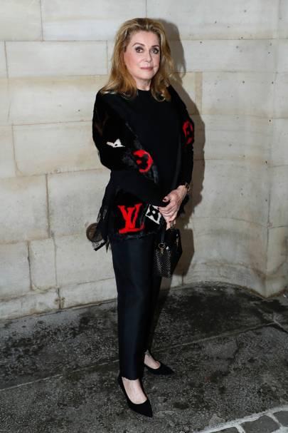 Catherine Deneuve at the Louis Vuitton show.