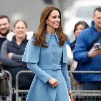 An official visit to Ballymena in Northern Ireland February 2019, wearing Mulberry Coat and Rupert Sanderson heels