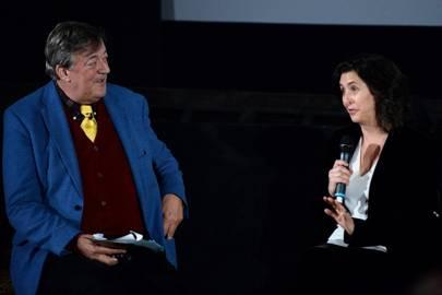 Stephen Fry and Gigi Pritzker
