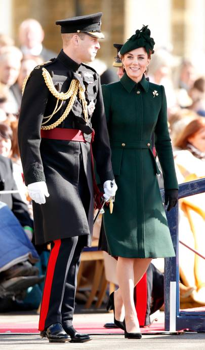 The Duchess of Cambridge wears emerald green Alexander McQueen for St Patrick's Day