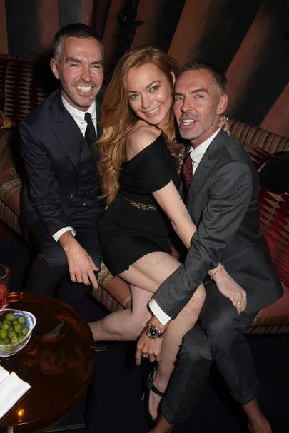 Dan Caten, Lindsay Lohan and Dean Caten