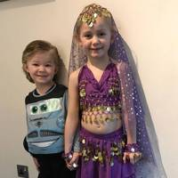 Elliot Kelly as Finn McMissile and Bethany Kelly as Princess Jasmine