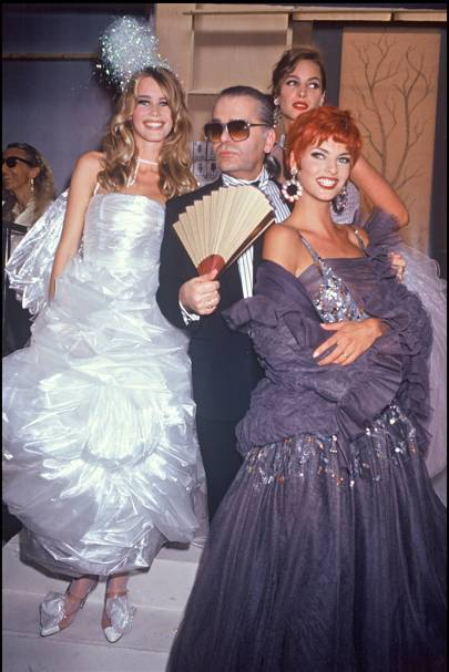 Claudia Schiffer, Karl Lagerfeld , Christy Turlington and Linda Evangelista at the Chanel Haute Couture Fall/Winter 1992 show
