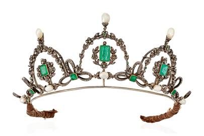 Late 19th Century emerald and diamond tiara