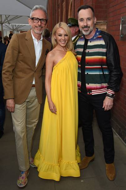 Patrick Cox, Kylie Minogue and David Furnish