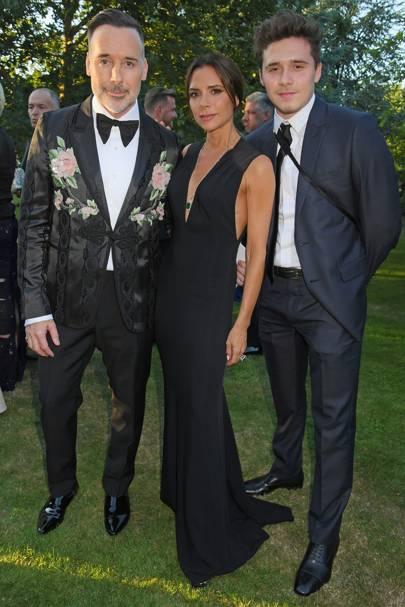 David Furnish, Victoria Beckham and Brooklyn Beckham at Elton John's Argento Ball