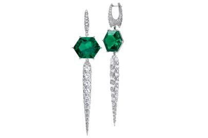 Boghossian 18ct white-gold earrings set with diamonds and emeralds