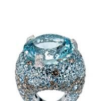 White-gold, diamomd, brown-diamond & aquamarine ring, £70,400, by De Grisogono