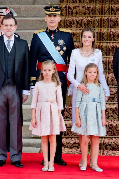 King Felipe VI of Spain, Queen Letizia of Spain, Crown Princess Leonor of Spain and Princess Sofia of Spain