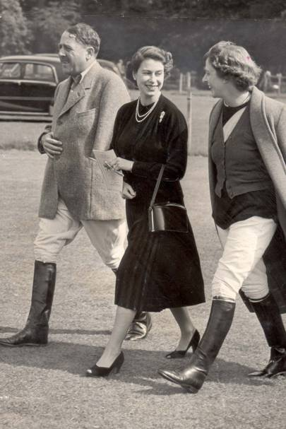 The Queen at Cowdray Park in 1952, with the 3rd Viscount Cowdray