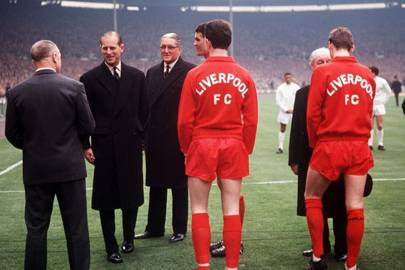 Prince Philip before the start of Liverpool's FA Cup Final match against Leeds United, 1965