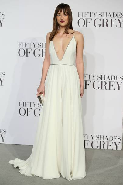 Wearing Saint Laurent at the 'Fifty Shades of Grey' UK premiere, 2015.