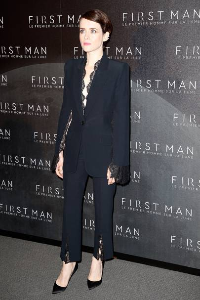 Wearing Alexander McQueen at the First Man premiere, 2018