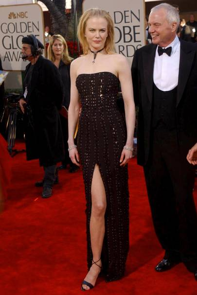 Wearing Tom Ford at the Golden Globes, 2002