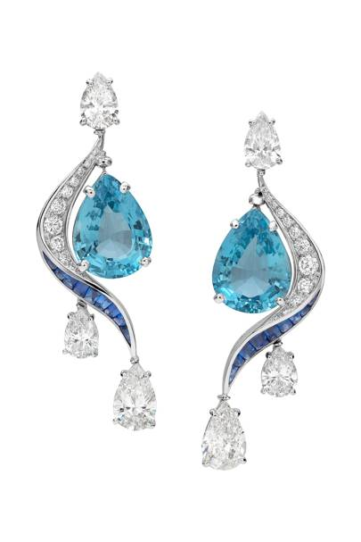 Aquamarine, sapphire and diamond earrings, POA, Bulgari