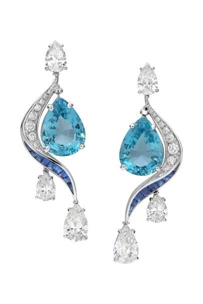 Aquamarine, sapphire and diamond earrings, POA, Bulgari