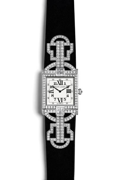 Diamond and suede watch, £39,300, by Ralph Lauren