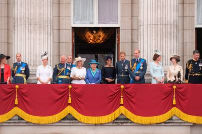 Princess Michael of Kent, the Earl of Wessex, the Countess of Wessex, the Prince of Wales, the Duke of York, Duchess of Cornwall, the Queen, the Duchess of Sussex, the Duke of Sussex, the Duke of Cambridge, the Duchess of Cambridge, Princess Anne and Tim Laurence
