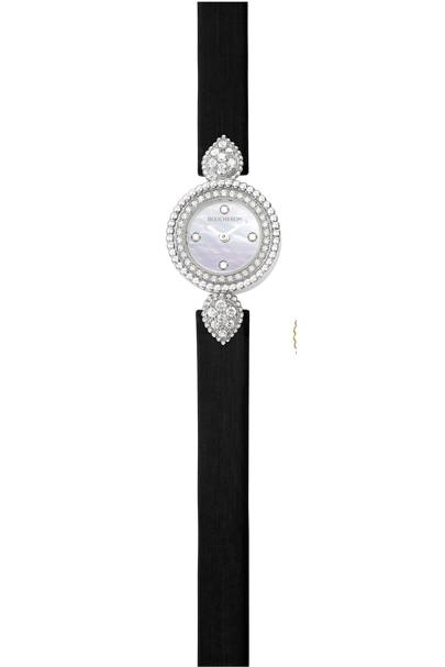 White-gold, diamond and satin watch, £8,500, by Boucheron