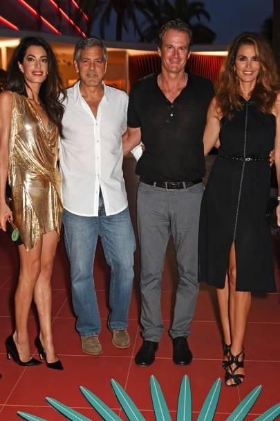 Amal Clooney, George Clooney, Rande Gerber and Cindy Crawford