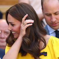 Duchess of Cambridge wearing a citrine ring at Wimbledon - a gift from the Duke of Cambridge following the birth of Prince Louis