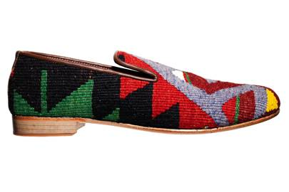 Leather & kilim slippers, £149 by Pickett