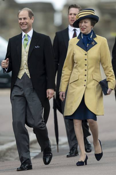 The Earl of Wessex and Anne, the Princess Royal at at Lady Gabriella Windsor and Thomas Kingston's wedding, May 2019