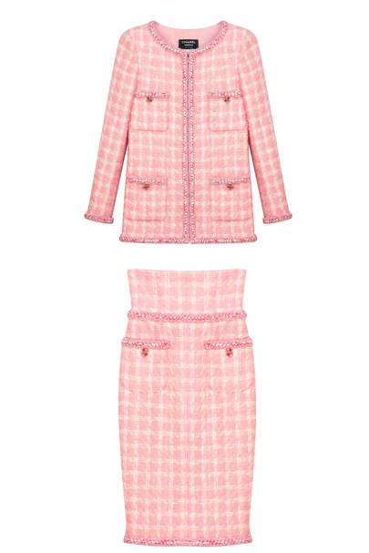 Tweed Jacket, £4,385, Tweed Skirt, £1,964, by Chanel
