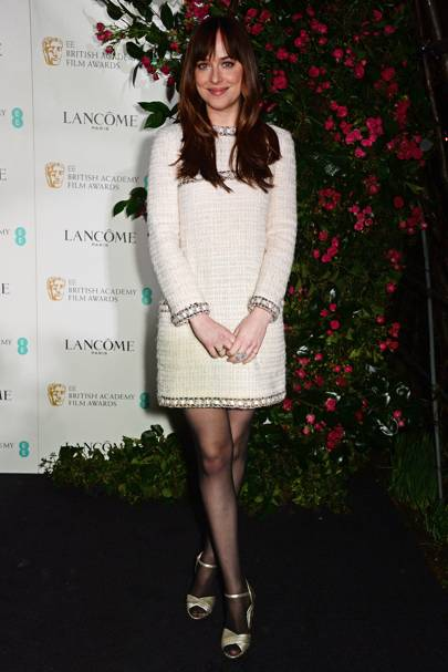 Wearing Chanel at the BAFTA party, 2016.