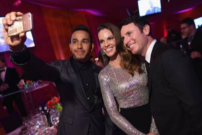 Lewis Hamilton, Hilary Swank and Ruben Torres