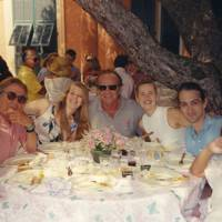 Gigi Capes, Willy Rizzo, Brit Magnussen, Jack Nicholson, Countess Giada Dobrzensky, Marquis Guy de Riencourt and Mrs Helmut Newton