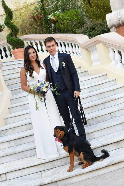 The couple with their dog at Monaco Cathedral