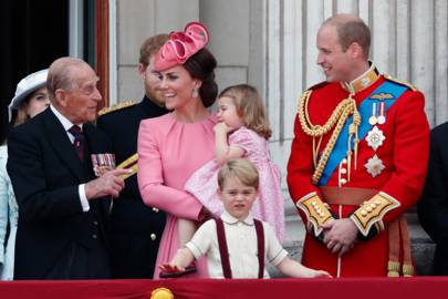 Prince Philip, the Duchess of Cambridge, Princess Charlotte, Prince George and the Duke of Cambridge attend the Trooping the Colour parade, 2017