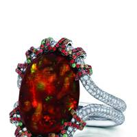White-gold, diamond, orange- &red-sapphire, fire-opal & tsavorite ring, £100,000, by Martin Katz