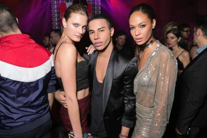 Constance Jablonski, Olivier Rousteing and Joan Smalls