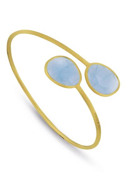 Gold and aquamarine bangle, £1,250, Marco Bicego