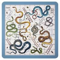 Leather snakes & ladders board