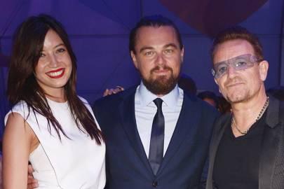 Daisy Lowe, Leonardo DiCaprio and Bono