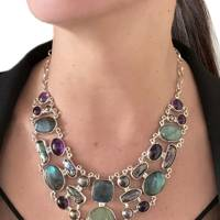 Labradorite, Pearls and Amethyst Silver Necklace by Nueve Sterling