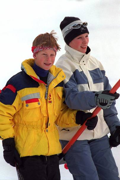 Prince Harry in Klosters in 1998, aged 14, and Zara Phillips, aged 17
